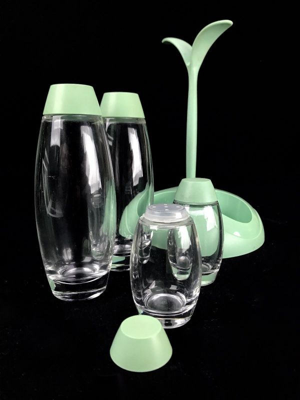 Retro Italian Cruet Set / Holder / Condiment Collection / Green Vintage Kitchen